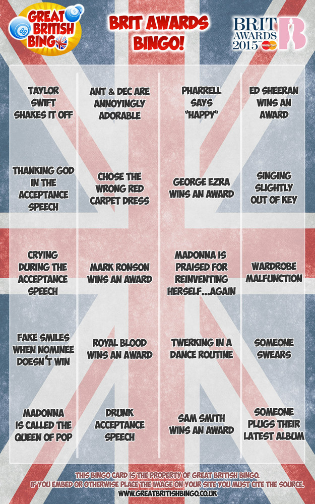 Brit Awards Playalong Bingo Card
