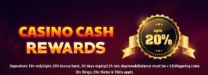 Get your Casino Cash Rewards from Champers Bingo this month